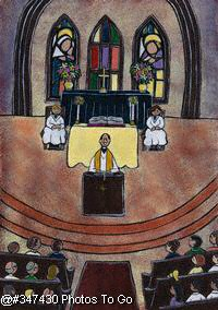 Illustration: Worship at church